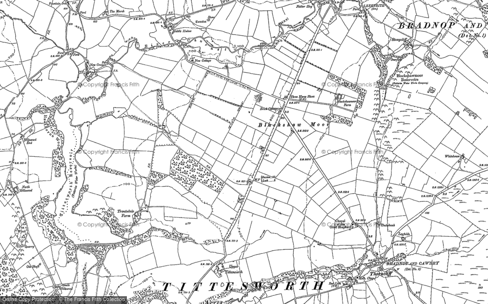 Old Map of Historic Map covering Tittesworth Reservoir in 1878