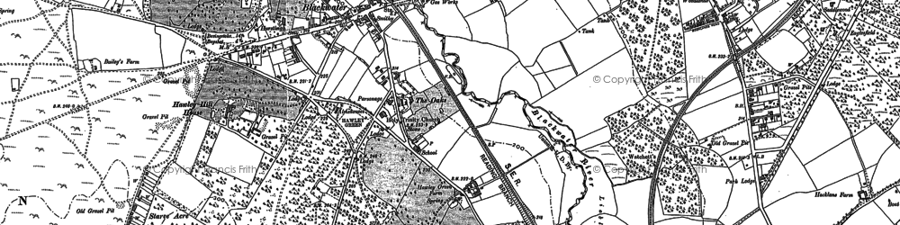 Old map of Blackwater in 1909