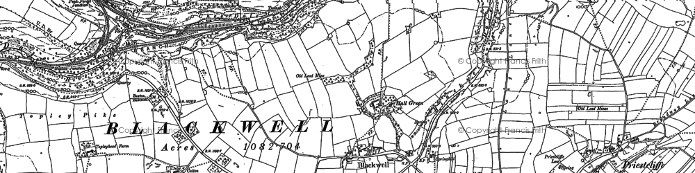 Old map of Wye Dale in 1879