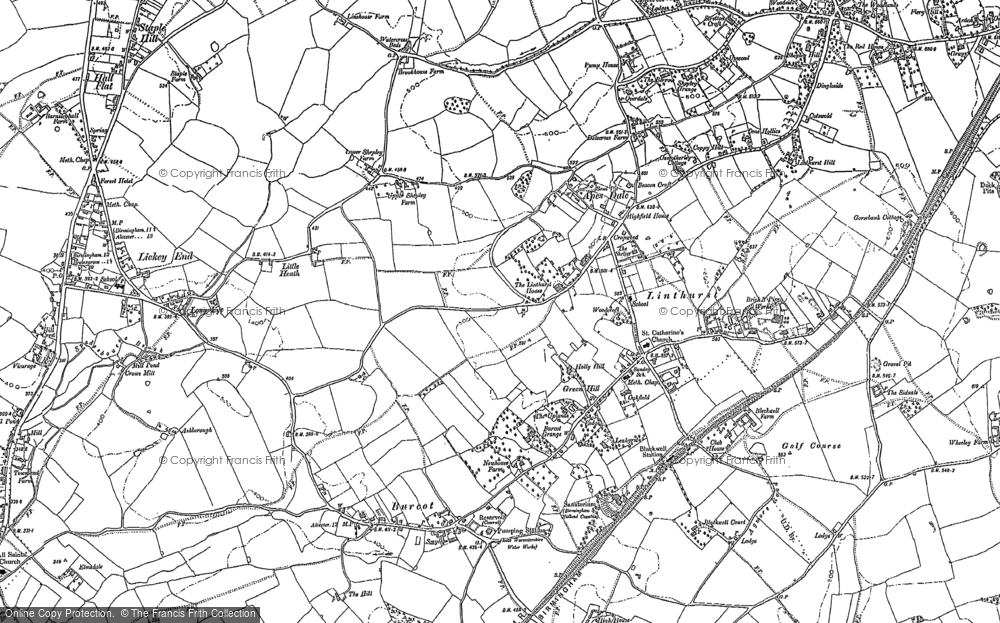 Old Map of Historic Map covering Linthurst in 1883