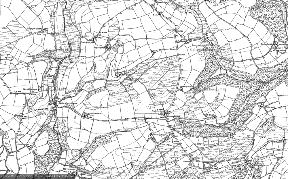 Old Map of Historic Map covering Afon Cywyn in 1887