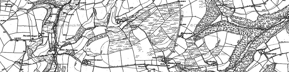 Old map of Afon Cywyn in 1887