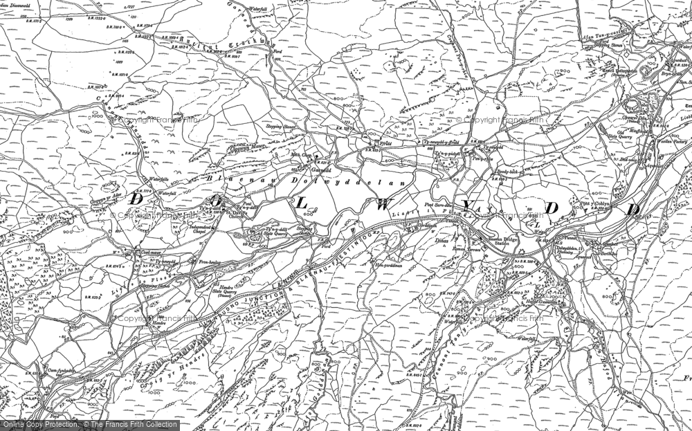 Old Map of Historic Map covering Afon Gorddinan in 1888