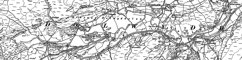 Old map of Afon Gorddinan in 1888