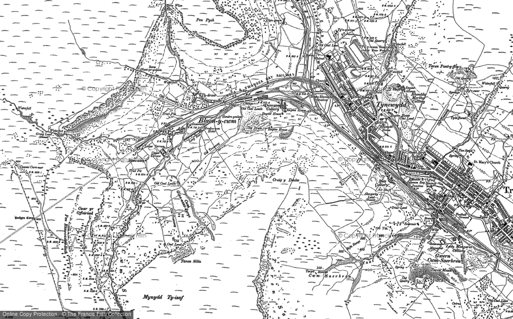 Old Map of Historic Map covering Bachgen Careg in 1897