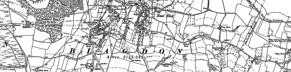 Old map of Blagdon in 1883