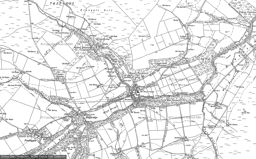 Old Map of Historic Map covering Allenshields in 1895