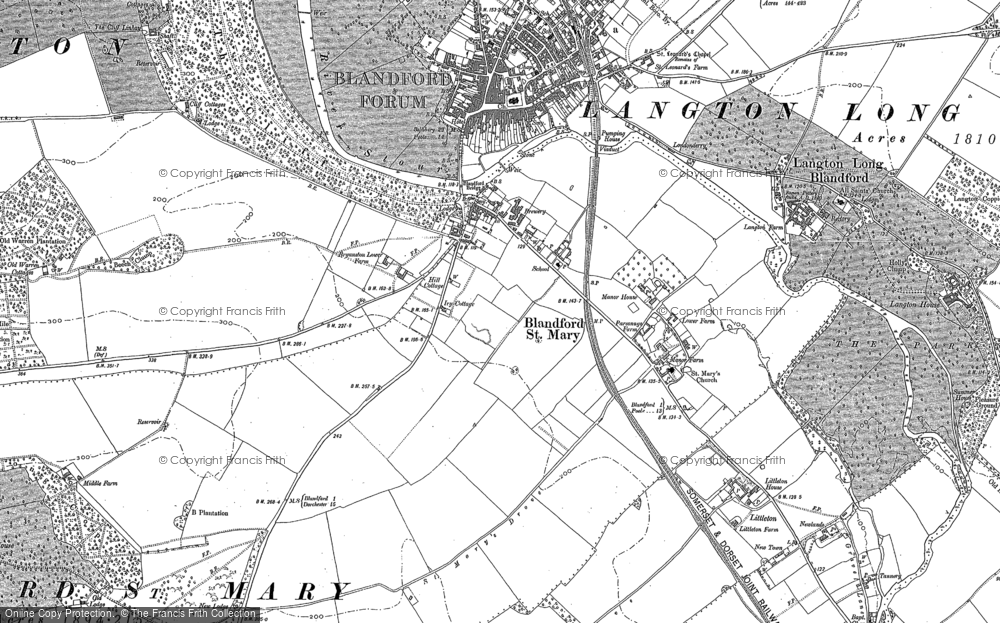 Old Maps of Blandford St Mary Francis Frith