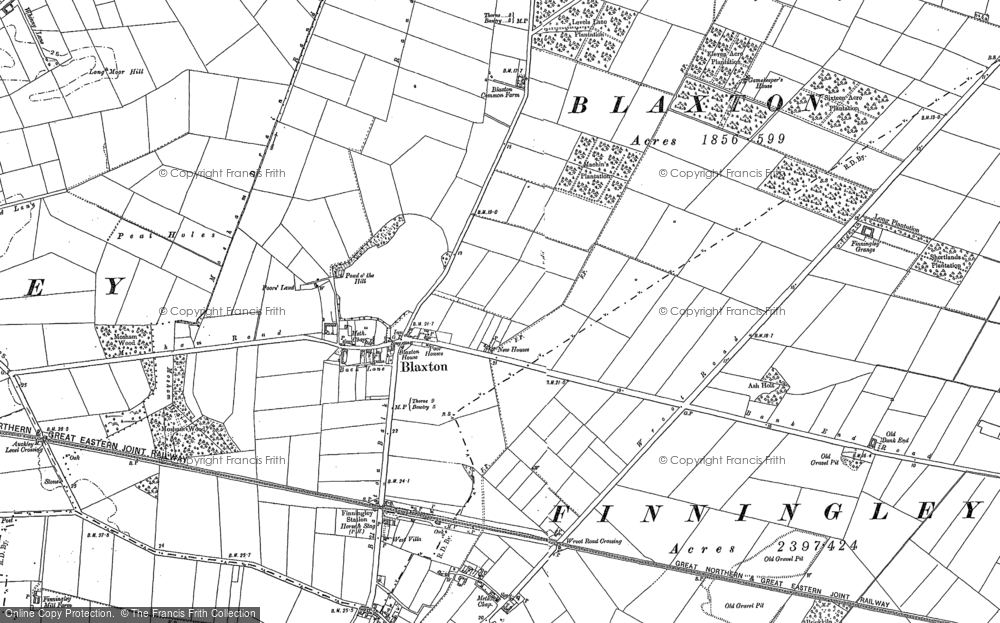 Old Map of Blaxton, 1891 - 1901 in 1891
