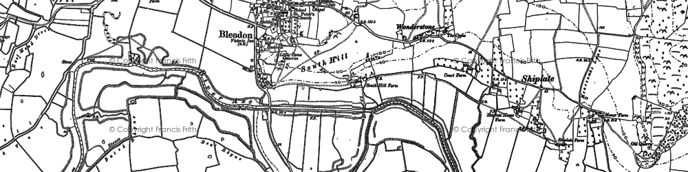 Old map of Bleadon in 1884