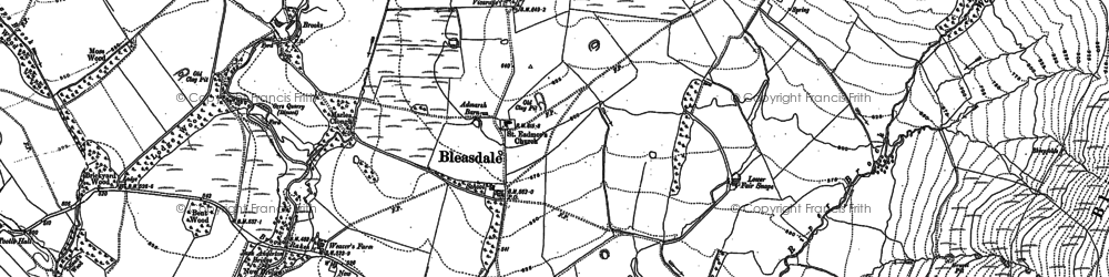 Old map of Bleasdale in 1910