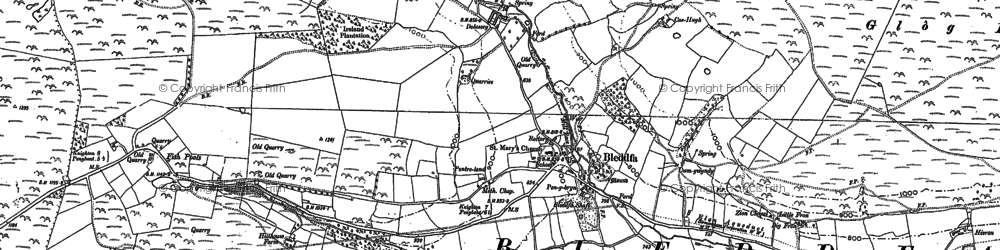 Old map of Bleddfa in 1887