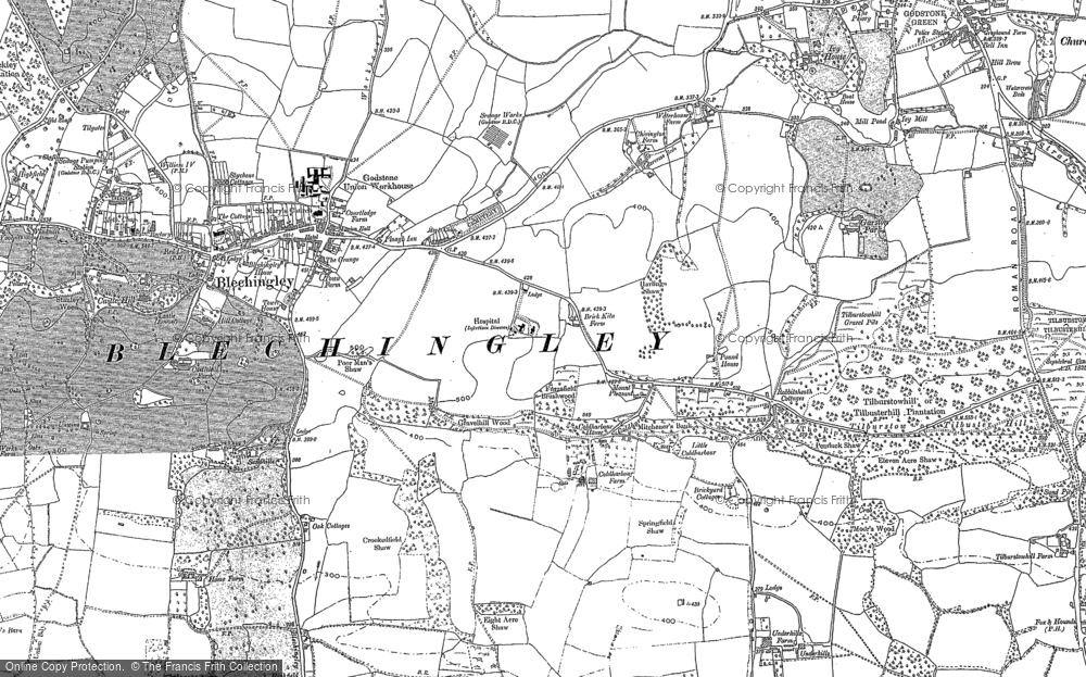 Old Map of Historic Map covering Wychcroft Ho in 1895