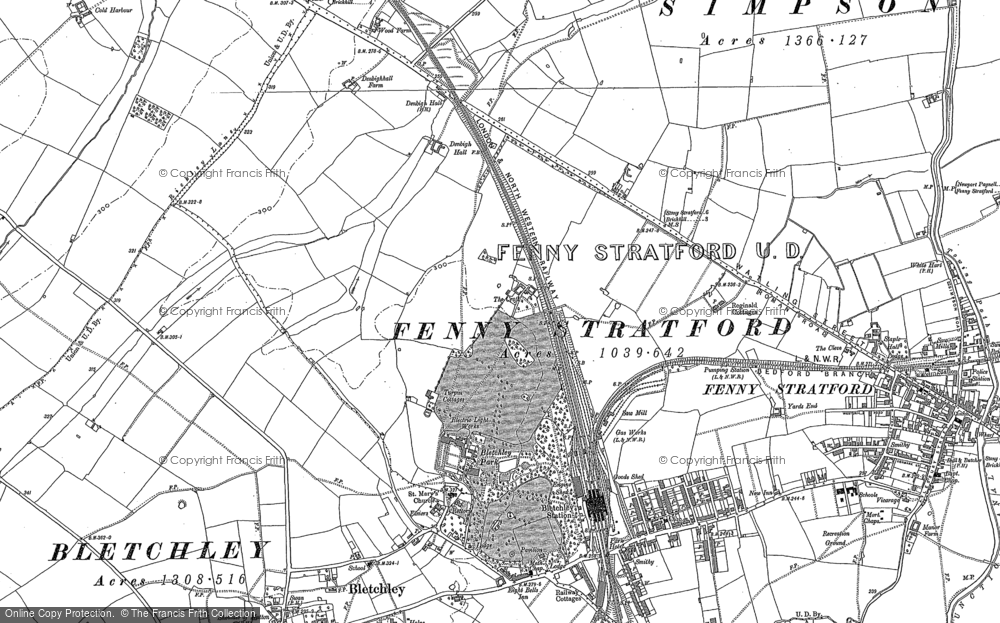 Old Map of Bletchley, 1924 in 1924