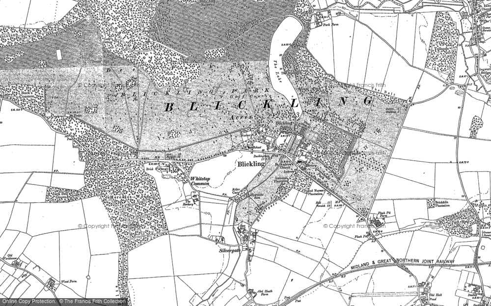 Old Map of Historic Map covering Abel Heath in 1885