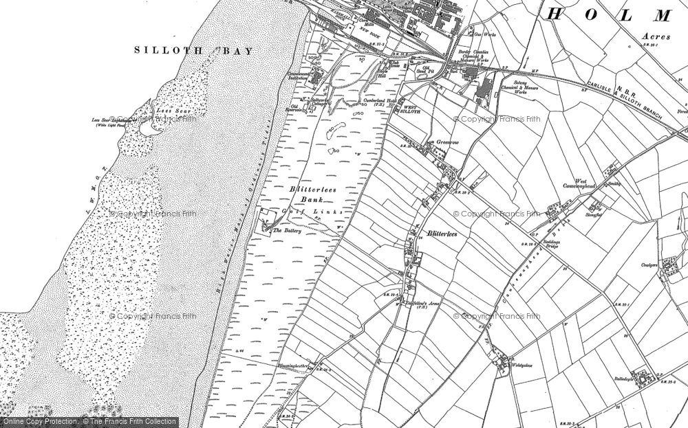 Old Map of Historic Map covering Lees Scar in 1923