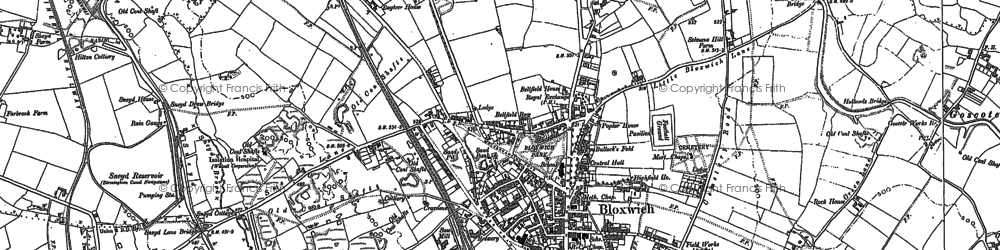 Old map of Bloxwich in 1883