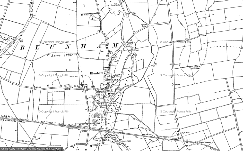 Old Map of Blunham, 1882 - 1900 in 1882