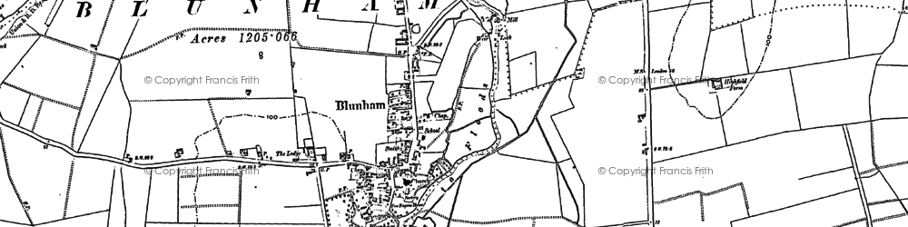 Old map of Blunham in 1882