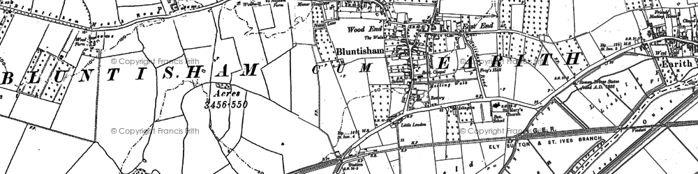 Old map of Bluntisham in 1900