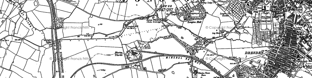 Old map of Blurton in 1877