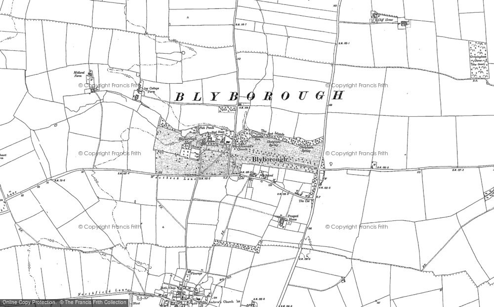 Old Map of Blyborough, 1885 in 1885