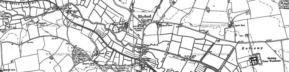 Old map of Blyford in 1883