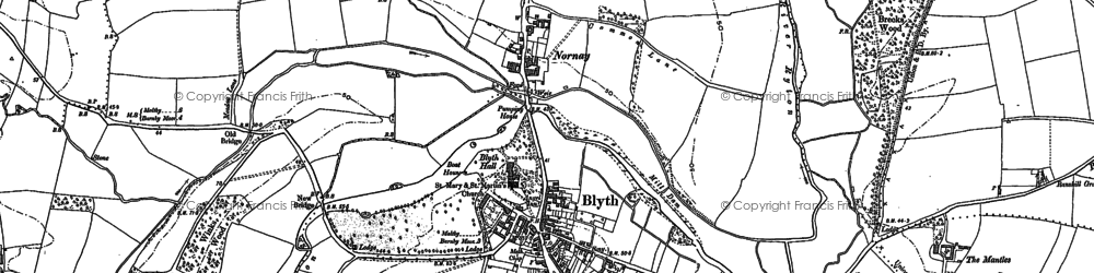 Old map of Blyth in 1885
