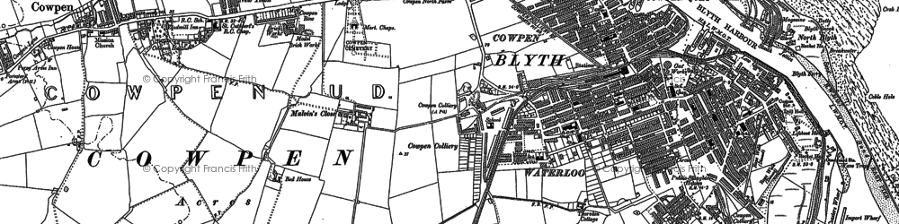 Old map of Blyth in 1896