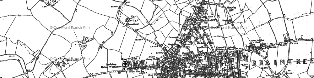 Old map of Bocking in 1886