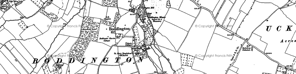 Old map of Boddington in 1883