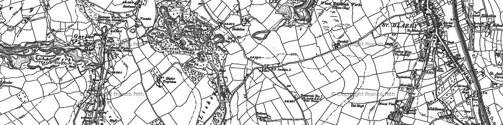 Old map of Bodelva in 1881