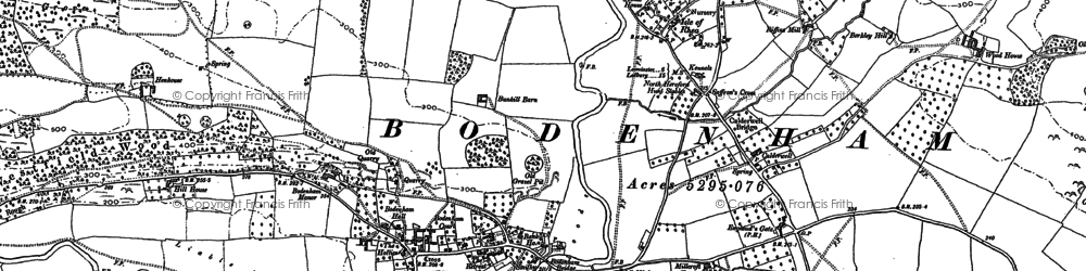 Old map of Westfields in 1885