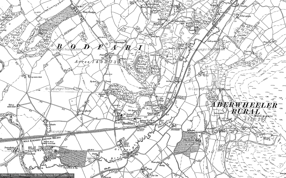 Old Map of Historic Map covering Bâch-y-graig in 1910