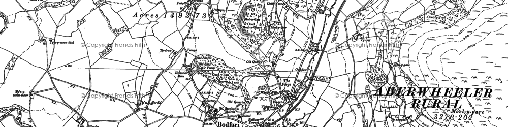 Old map of Aberwheeler in 1910