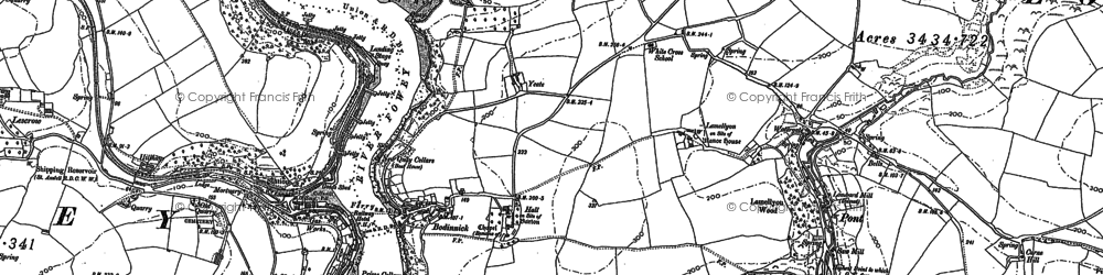 Old map of Bodinnick in 1906