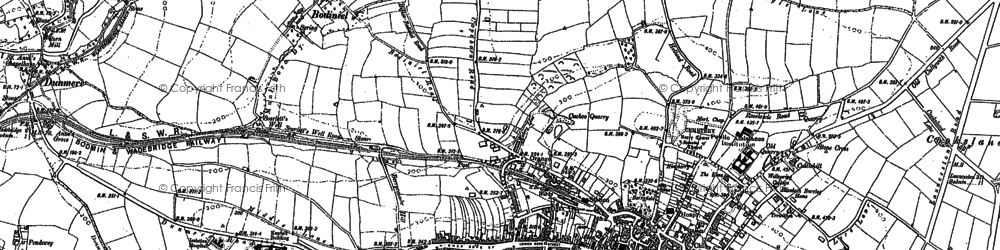 Old map of Bodmin in 1881