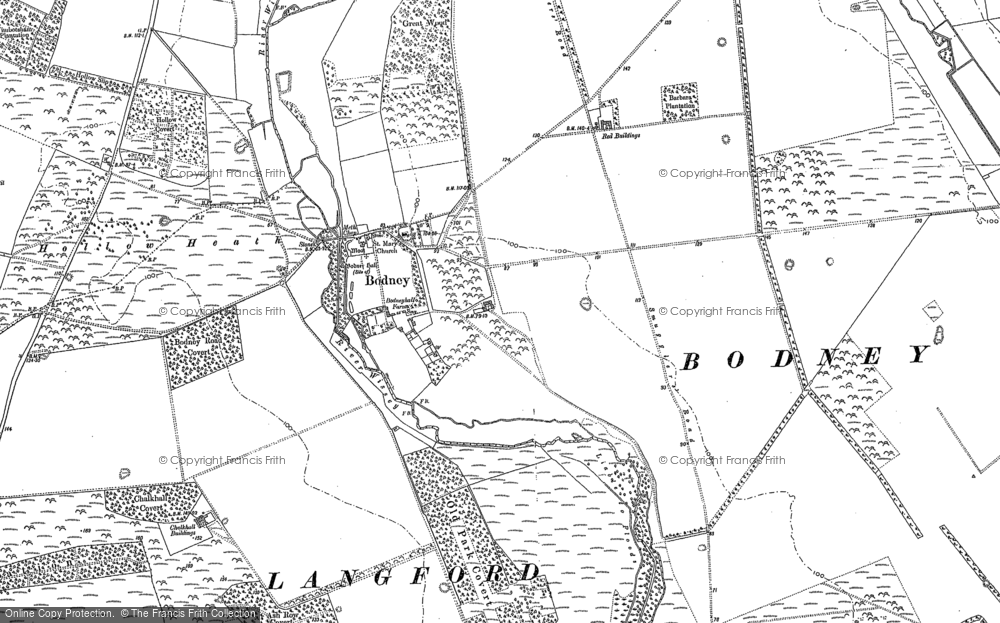 Old Map of Historic Map covering Langford in 1883