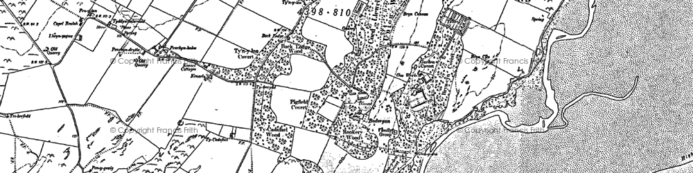 Old map of Bodorgan in 1888