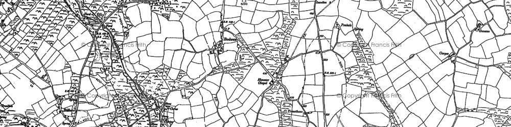 Old map of Bodwen in 1881