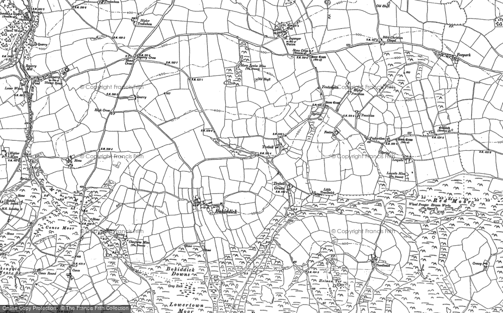 Old Map of Historic Map covering Cornwall in 1881