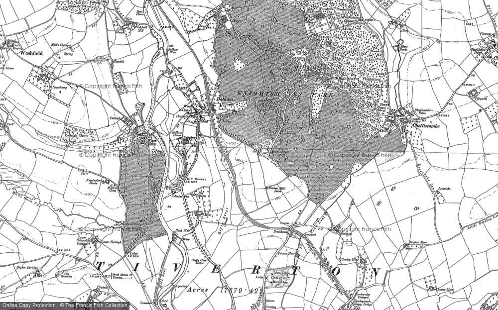 Old Map of Historic Map covering Worth Ho in 1887