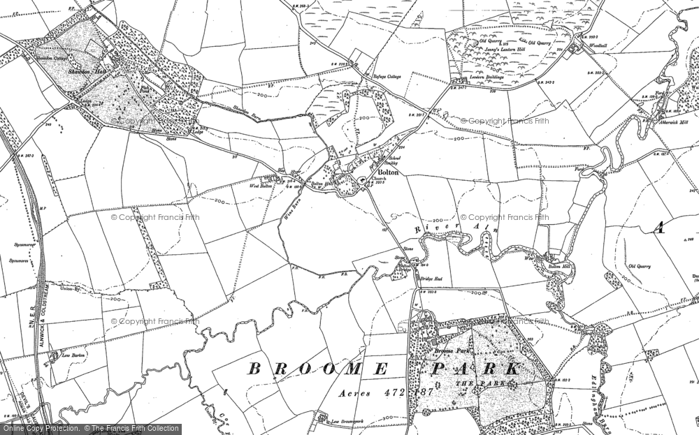Old Map of Historic Map covering Abberwick Village in 1896
