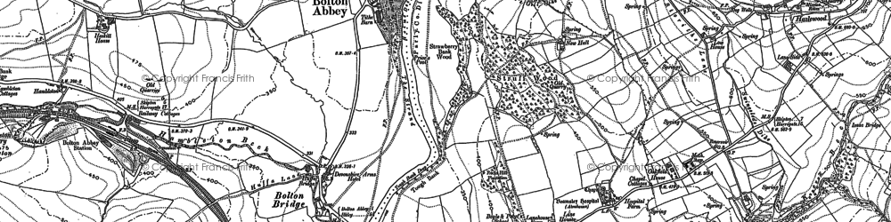 Old map of Bolton Abbey in 1906