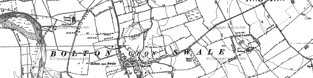 Old map of Bolton-on-Swale in 1891