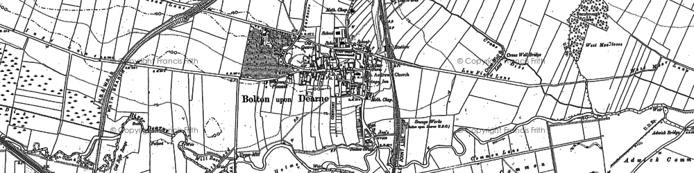 Old map of Bolton Upon Dearne in 1890