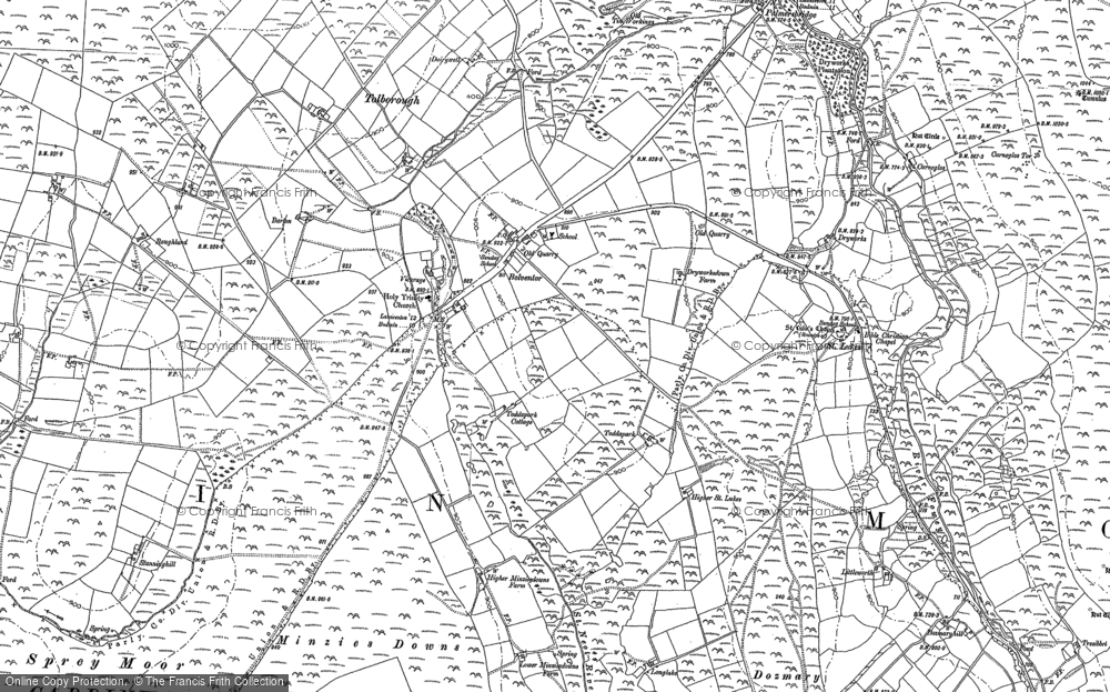 Old Map of Historic Map covering Tolborough Tor in 1882