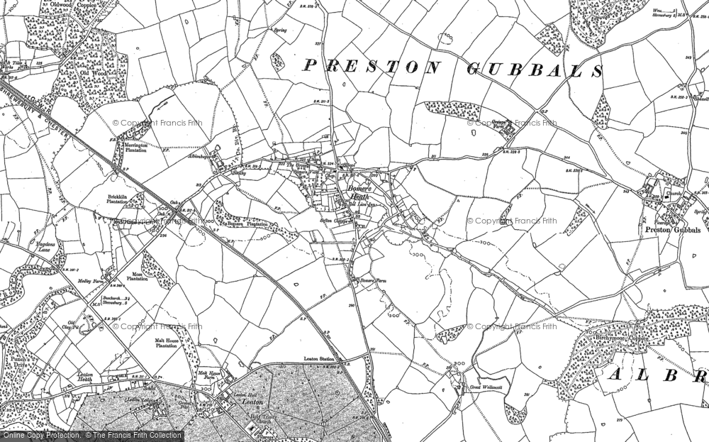 Old Map of Bomere Heath, 1880 - 1881 in 1880
