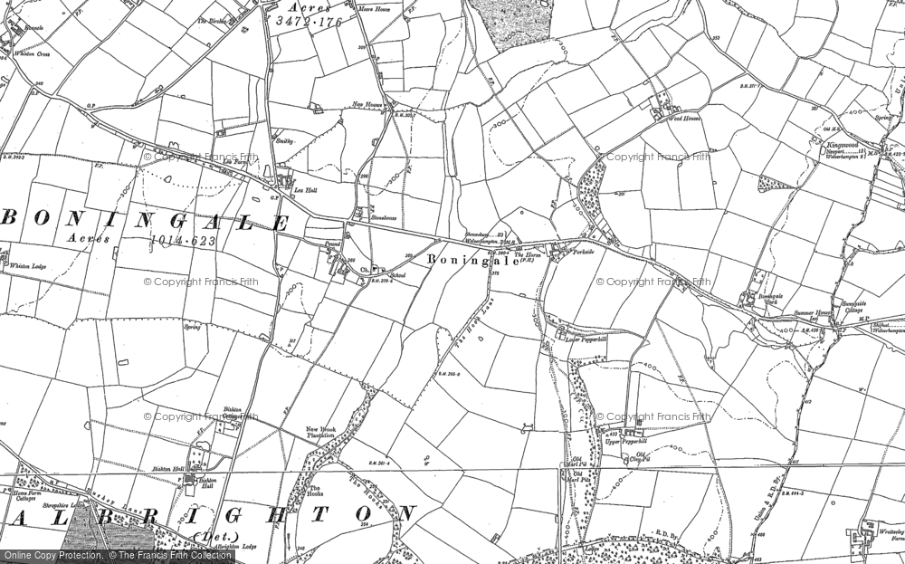 Old Map of Historic Map covering Whiston Hall in 1881