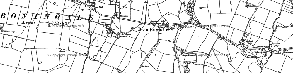 Old map of Whiston Hall in 1881